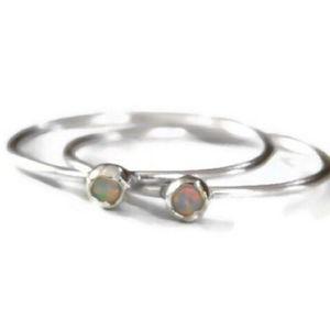 2 Sterling Silver & Fire Opal Rings, 7
